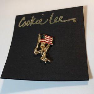 Cookie Lee angel with U.S. flag pin patriotic